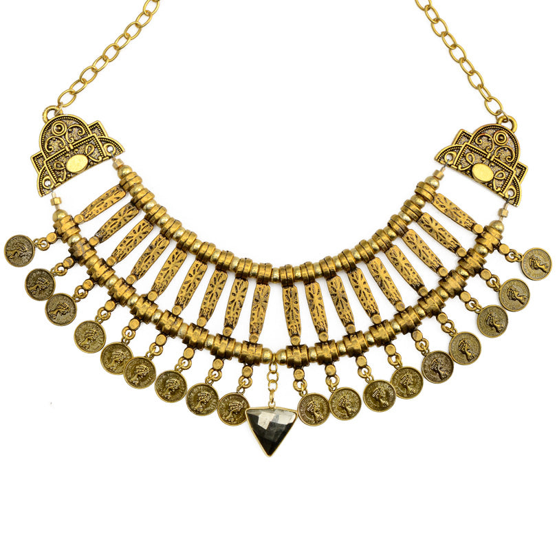 "Oh Gosh! Gorgeous Cleopatra Golden Brass Statement Necklace 21""-one of a kind"