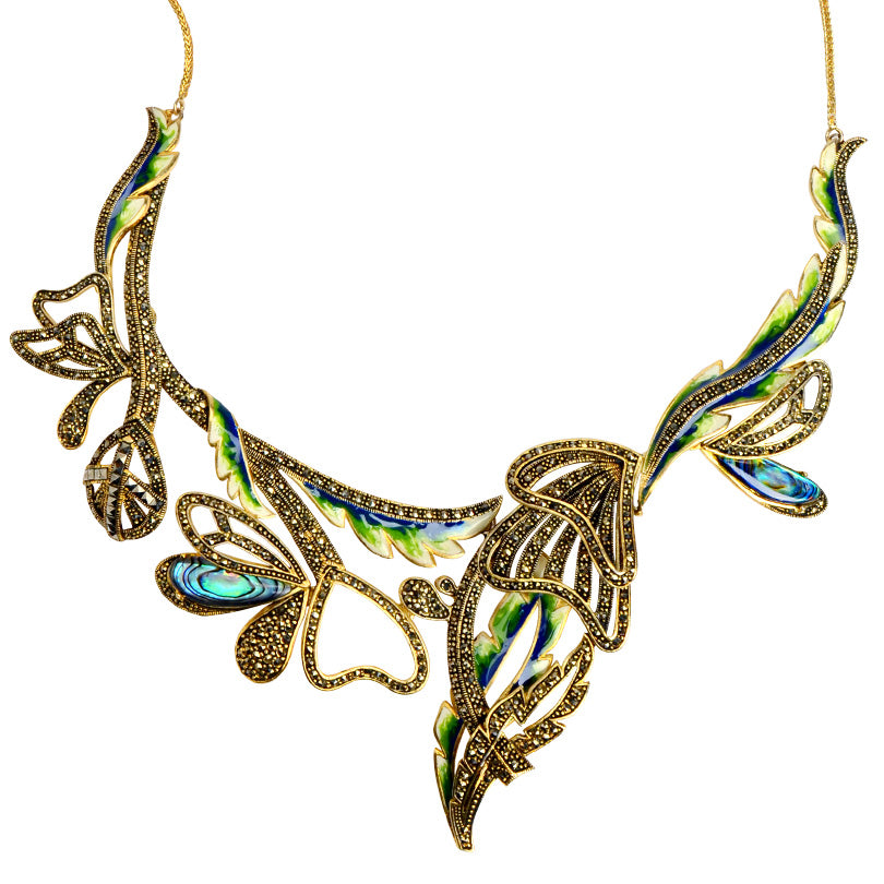 Simply Gorgeous Abalone & Marcasite Gold Plated Flower Statement Necklace-only one