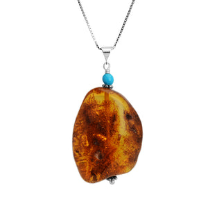 Natural Cognac Baltic Amber and Sleeping Beauty Turquoise Sterling Silver Necklace