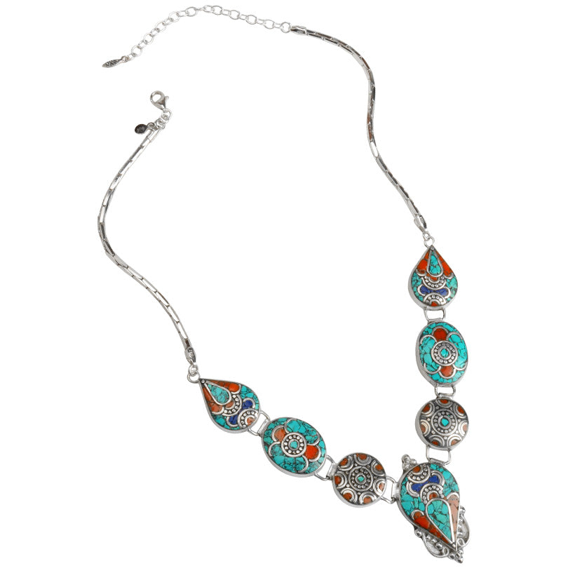 Gorgeous Turquoise & Himalayan Coral with Lapis Nepal Necklace