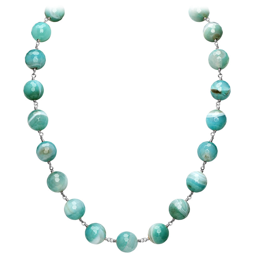 "Lovely Ocean Blue Striped Agate Ball Sterling Silver Statement Necklace 18"" - 20"""