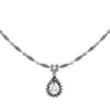 Fancy Dewdrop Mother Of Pearl With Sparkling Marcasite Sterling Silver Necklace