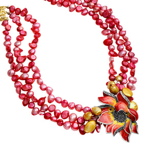 Bright Pink Pearls with Beautiful Marcasite Enamel Flower Necklace