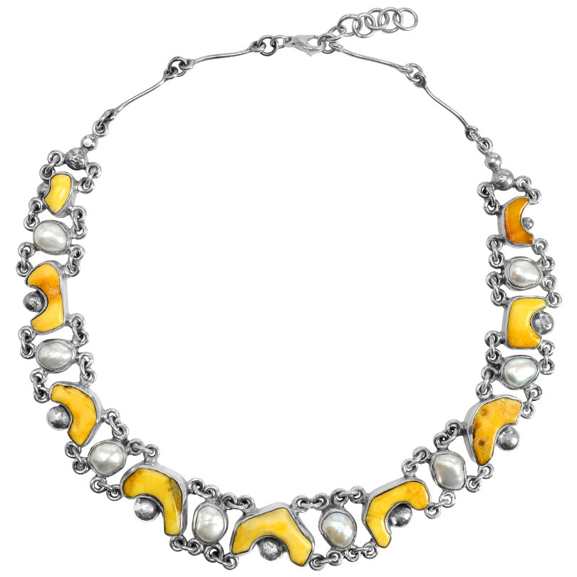 Polish Designer Captivating Baltic Butterscotch Amber with Pearl Sterling Silver Necklace