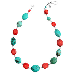 Classic Turquoise and Coral Sterling Silver Necklace