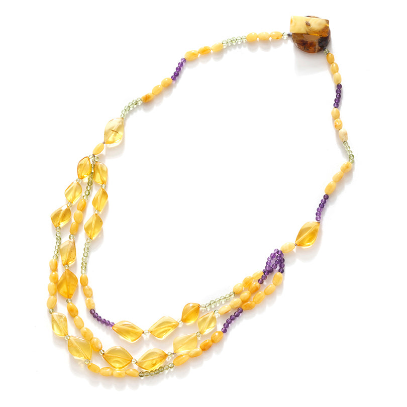 Pretty Delicate Lemon Baltic Amber Amber Statement Necklace