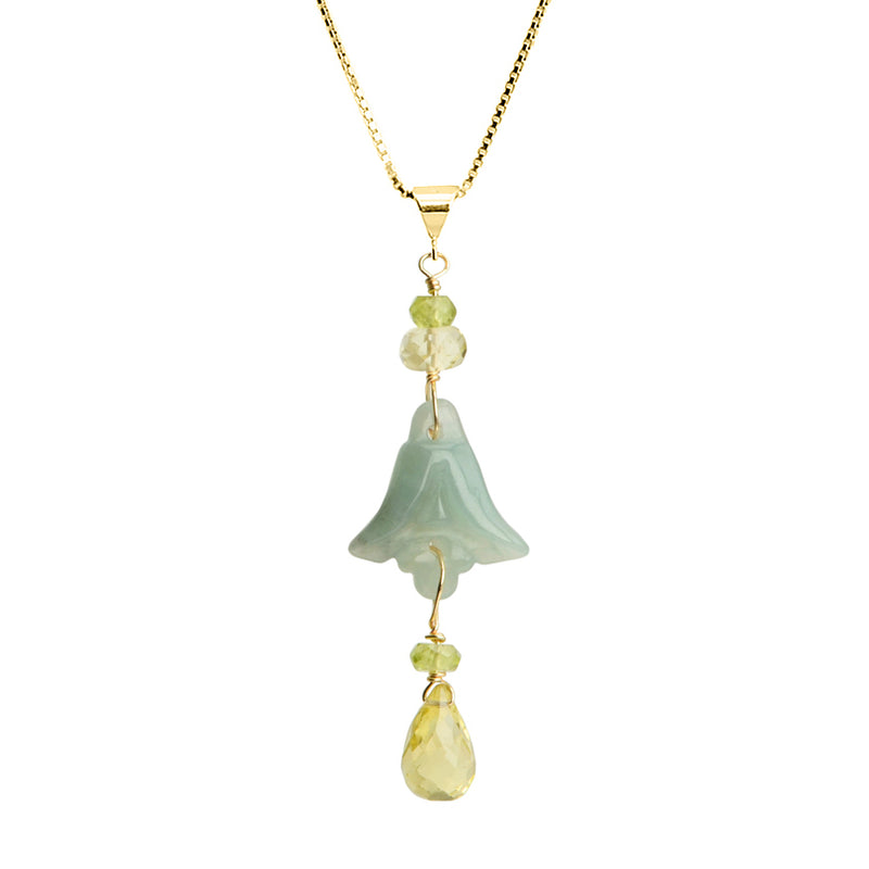 Lovely Jade and Lemon Quartz 18kt Gold Plated Necklace 16