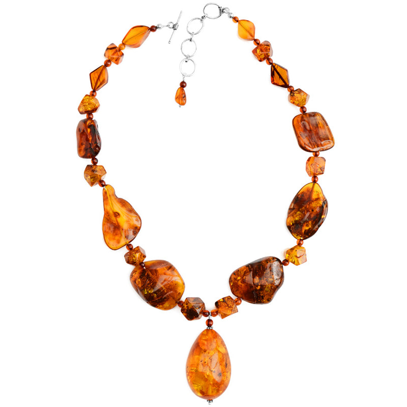 Stunning Large Stone Cognac Baltic Amber Sterling Silver Necklace 18