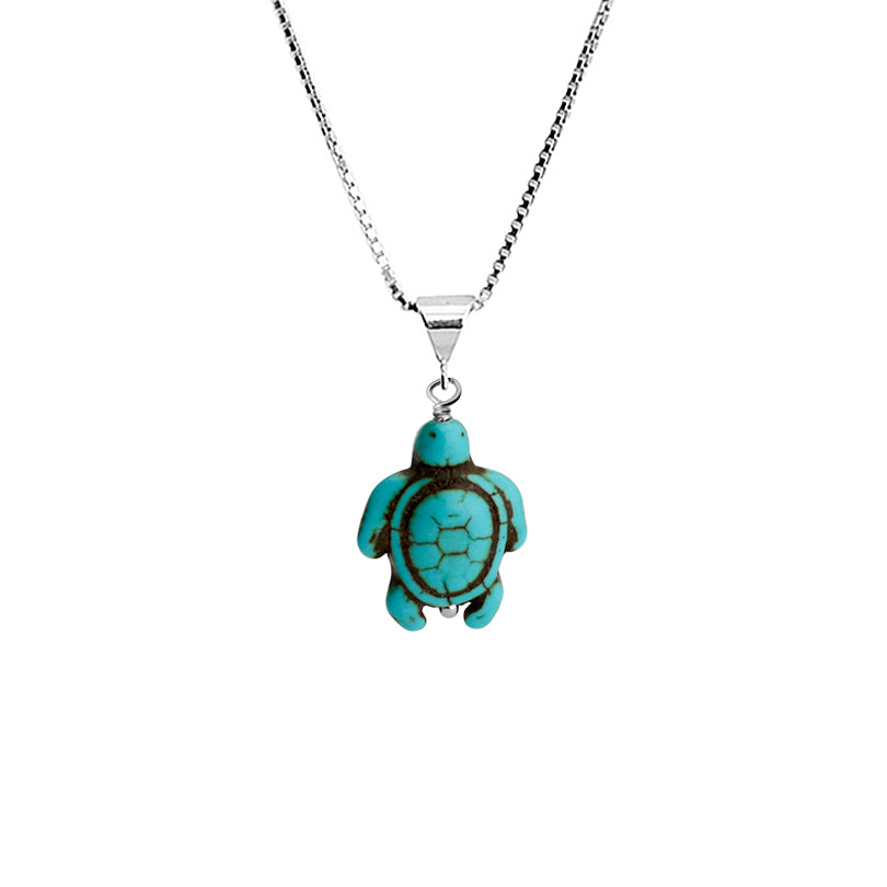 Adorable Turtle Turquoise Color Magnesite on Rhodium Plated Sterling Silver Necklace