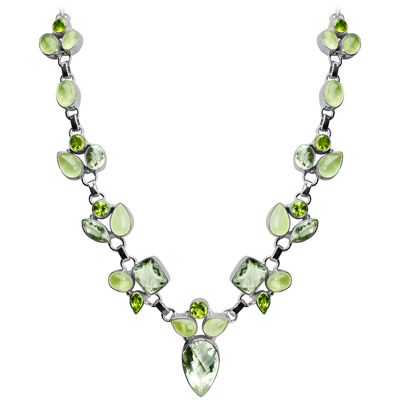 "Lovely Faceted Green Amethyst, Green Prehnite and Green Peridot Sterling Silver Necklace 17"" - 19"""