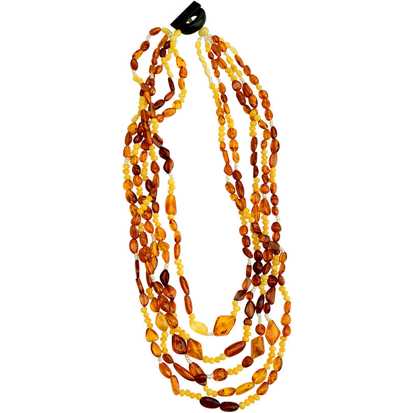 "Stunning 5-Strand ""Waterfall"" Baltic Amber and Fresh Water Pearl Necklace 20""-one of a kind"