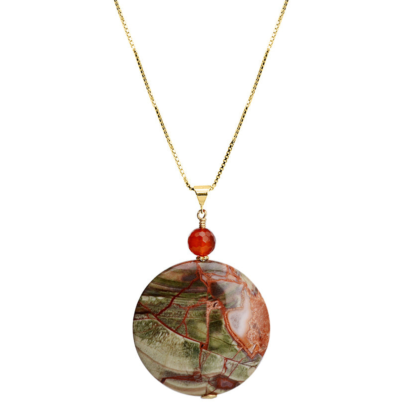 Gorgeous Brillant Jasper and Carnelian Vermeil Necklace