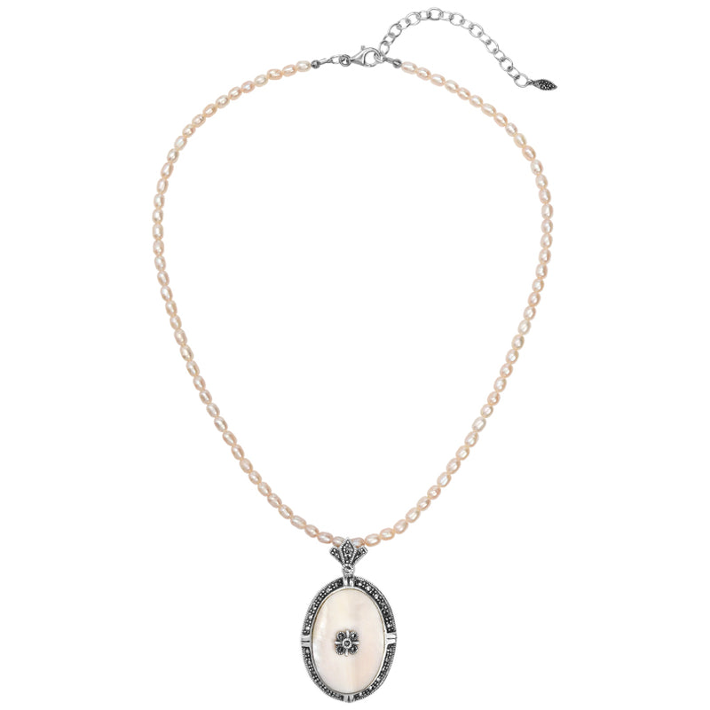Simply Elegant Mother of Pearl with Marcasite and Pearl Necklace