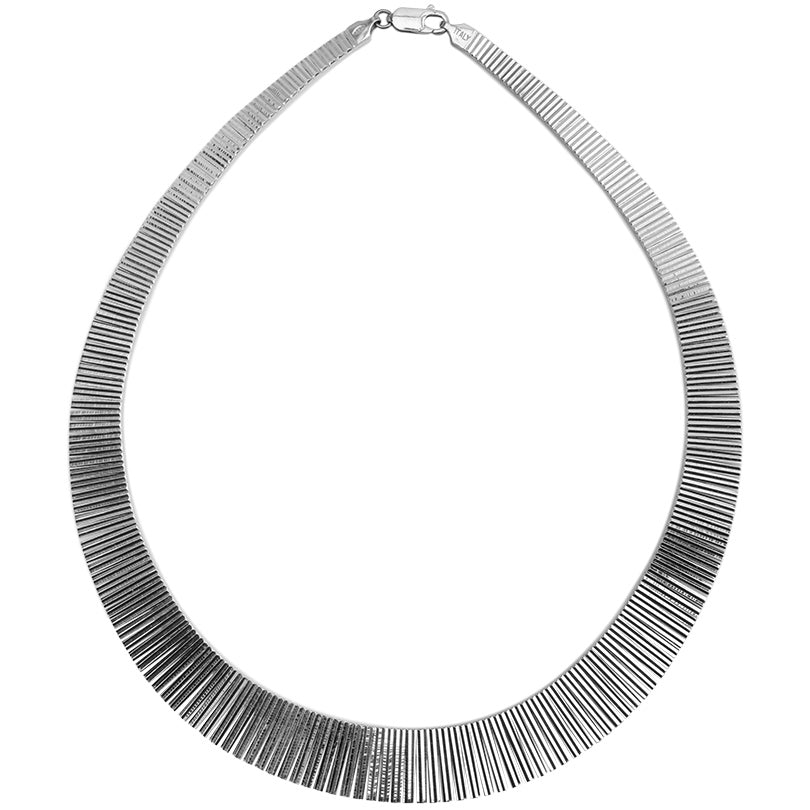 "Beautiful Rhodium Plated Cleopatra Sterling Silver Italian Necklace 17"" As-Is"