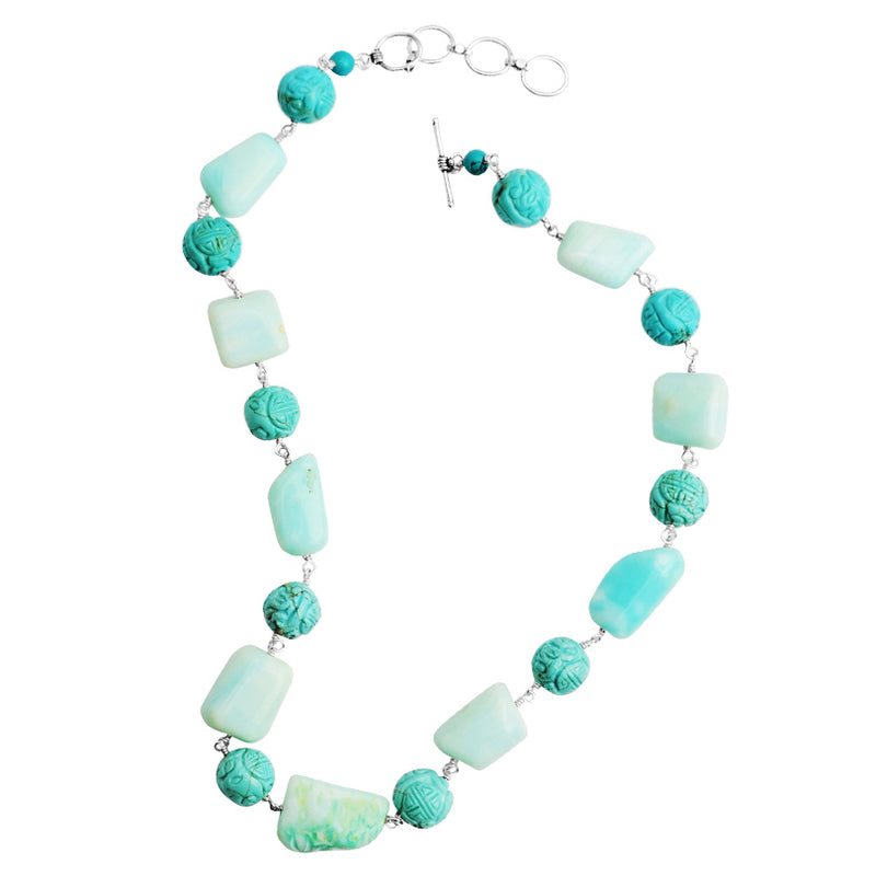 Beautiful Blue Carved Chalk Turquoise and Peruvian Opal Stones Necklace 20
