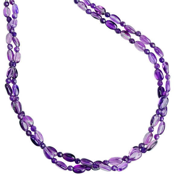 Lovely, Radiant Amethyst Double Strand Sterling Silver Necklace