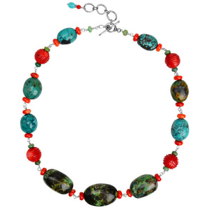 "Gorgeous Colors Genuine Turquoise and Carved Coral Sterling Silver Necklace 19"" - 21"""