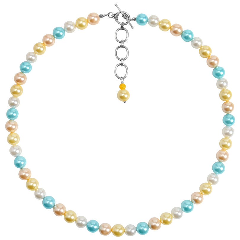 Shimmering Pastel Shell Pearls Sterling Silver Necklace