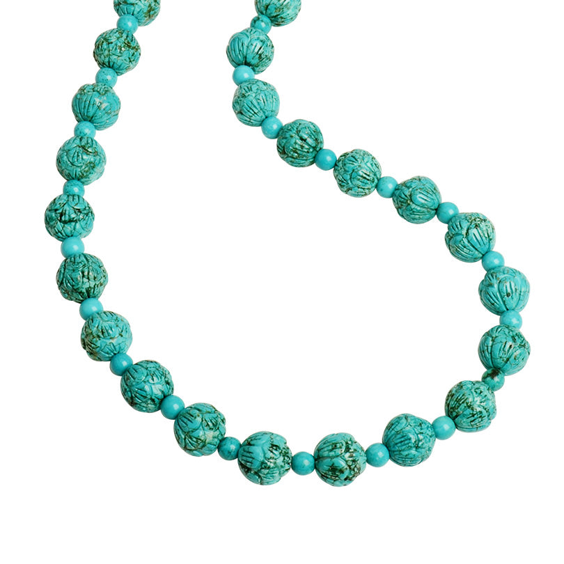 "Luscious Dark Aqua Blue Carved Chalk Turquoise Beaded Necklace 18""-20"""