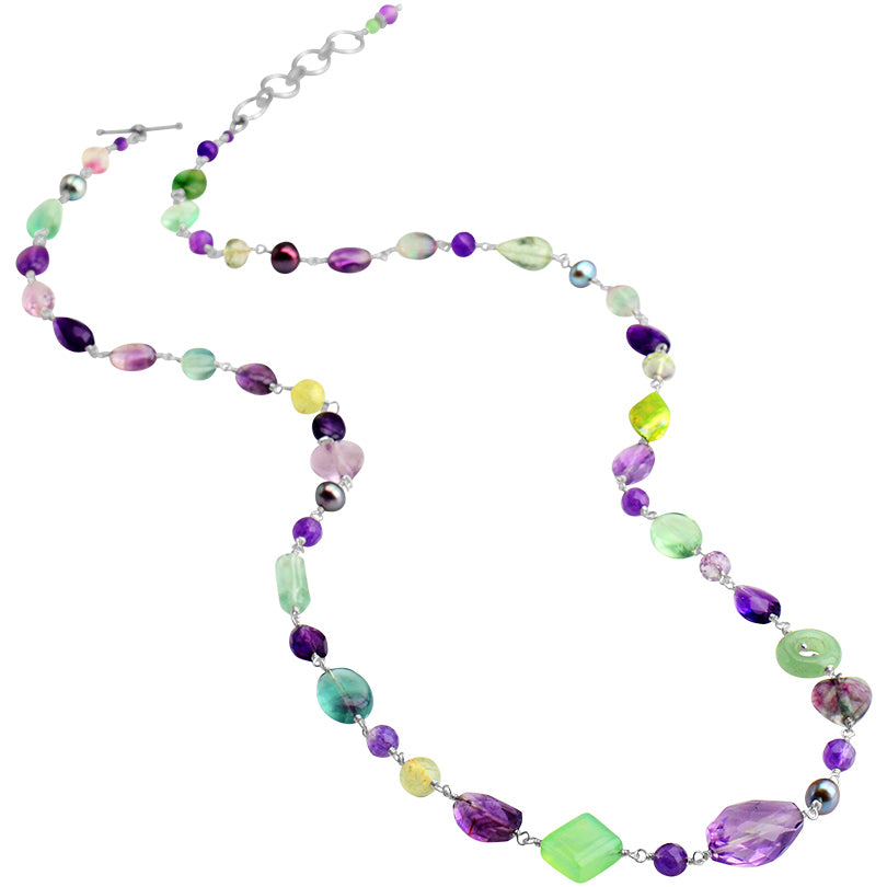 Gorgeous Rainbow Mixed Stones Sterling Silver Necklace 32""
