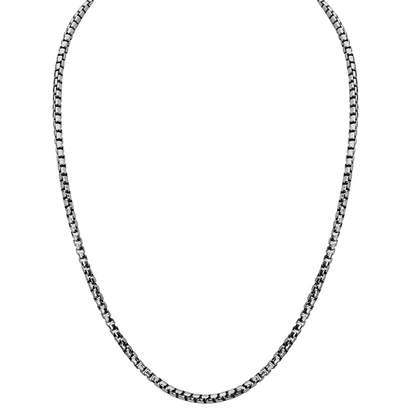 Rhodium Plated Sterling Silver Box Link Chain - 3.5mm