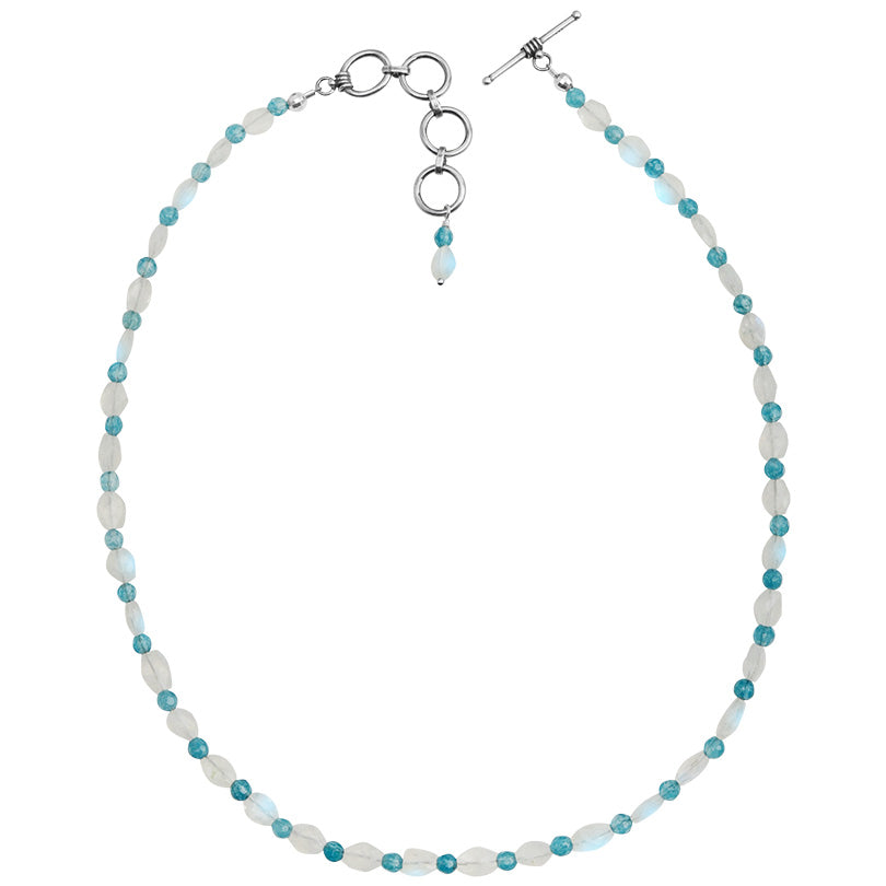 "Rainbow Moonstone and Aqua Blue Agate Stones Sterling Silver Necklace 16"" - 18"""