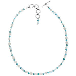 "Beautiful Faceted Moonstone and Aqua Blue Agate Sterling Silver Necklace 16"" - 18"""