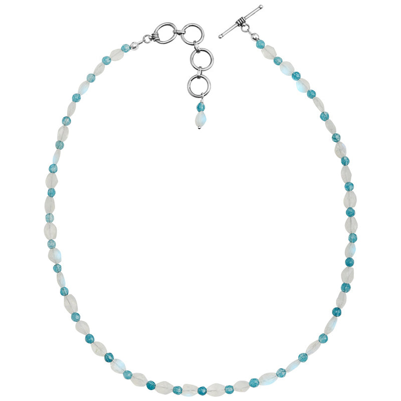 Beautiful Faceted Moonstone and Aqua Blue Agate Sterling Silver Necklace 16