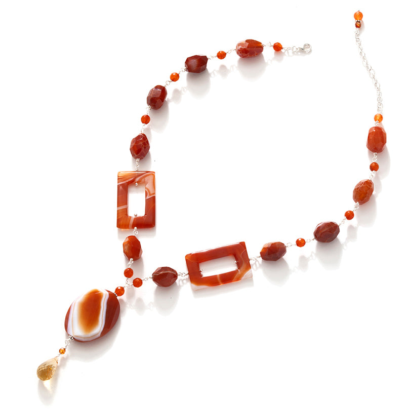 Vibrant Fire Agate & Carnelian Sterling Silver Statement Necklace