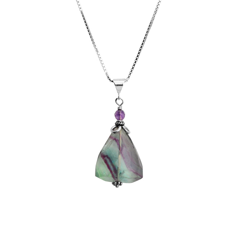 Fluorite and Amethyst Sterling Silver Necklace