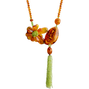 Gorgeous Polish Designer Baltic Cognac Amber and Peridot Statement Necklace 20""