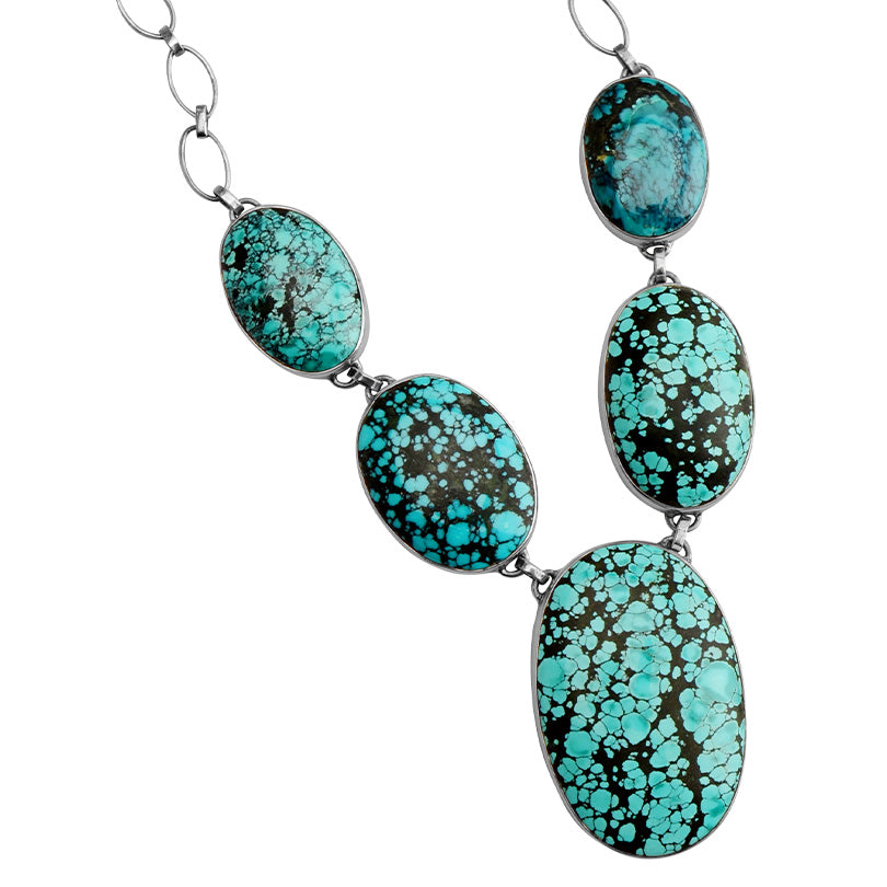"Magnificent Large Turquoise Stone Sterling Silver Statement Necklace 19"" - 21"""