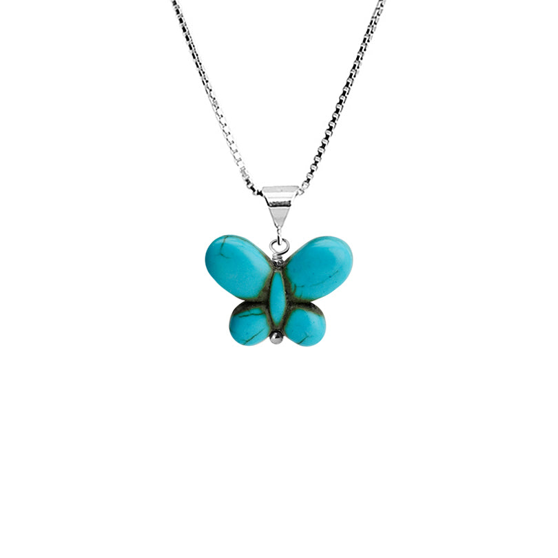 Adorable Magnesite Turquoise Sterling Silver Petite Butterfly Necklace