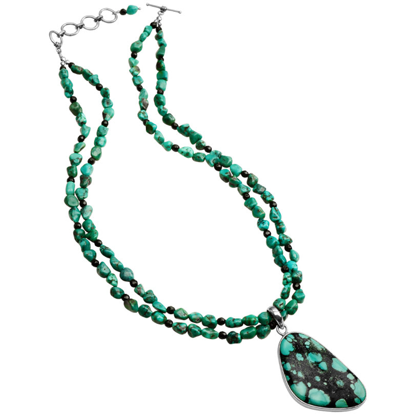 "Genuine Turquoise and Black Onyx Sterling Silver Statement Necklace 18"" - 20"""