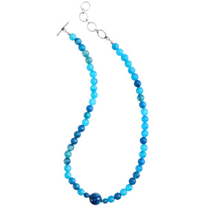"Faceted Blue Agate Sterling Silver Necklace 18"" - 20"""