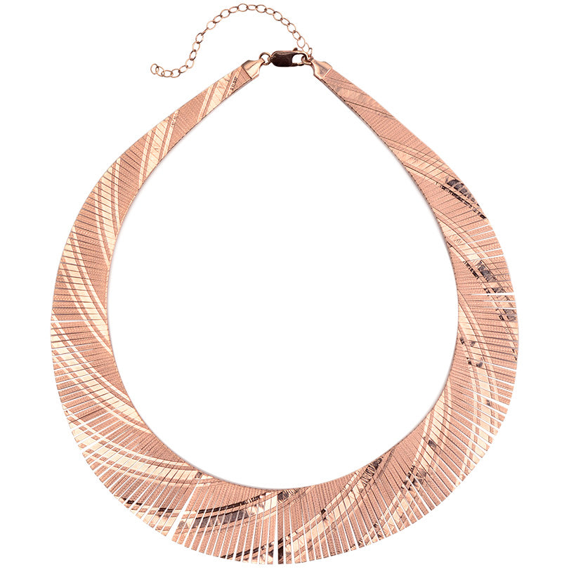 Wow! Italian Rose Gold Plated Sterling Silver Cleopatra Necklace
