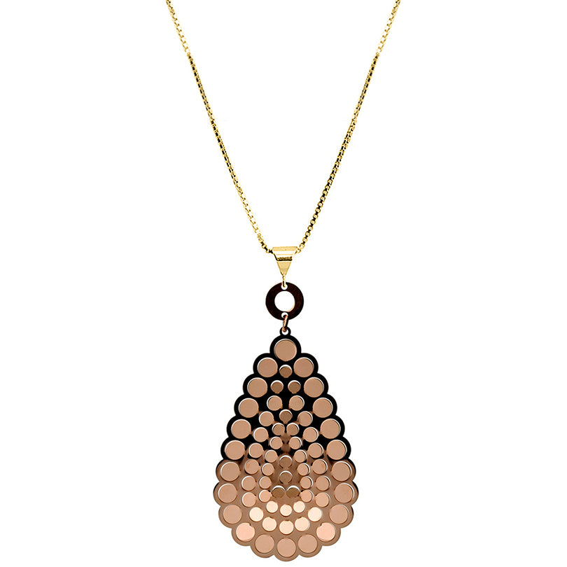 Glistening Rose Gold Plated Sterling Silver Italian Laser Cut Necklace