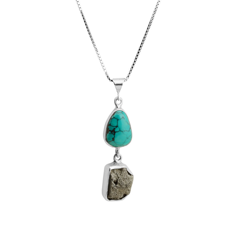 Genuine Turquoise and Pyrite Sterling Silver Necklace