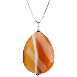 "Wave Cut Natural Banded Carnelian Sterling Silver Necklace 16"" - 18"""