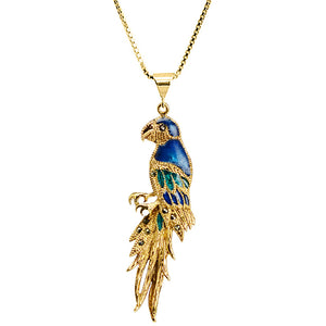 Adorable Golden Blue with Marcasite Accent Gold Plated Parrot Necklace