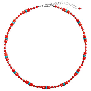 Bright and Beautiful Coral and Magnesite Turquoise Sterling Silver Necklace