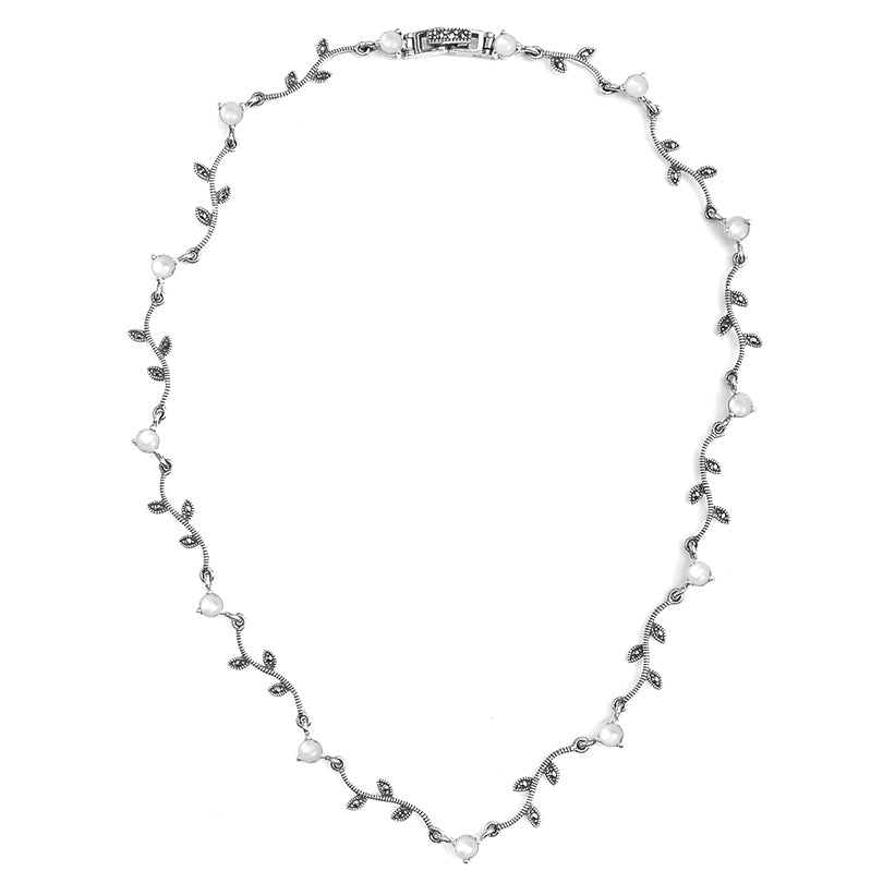Elegant Vintage Vine Design Mother of Shimmering Pearl with Marcasite Sterling Silver Necklace