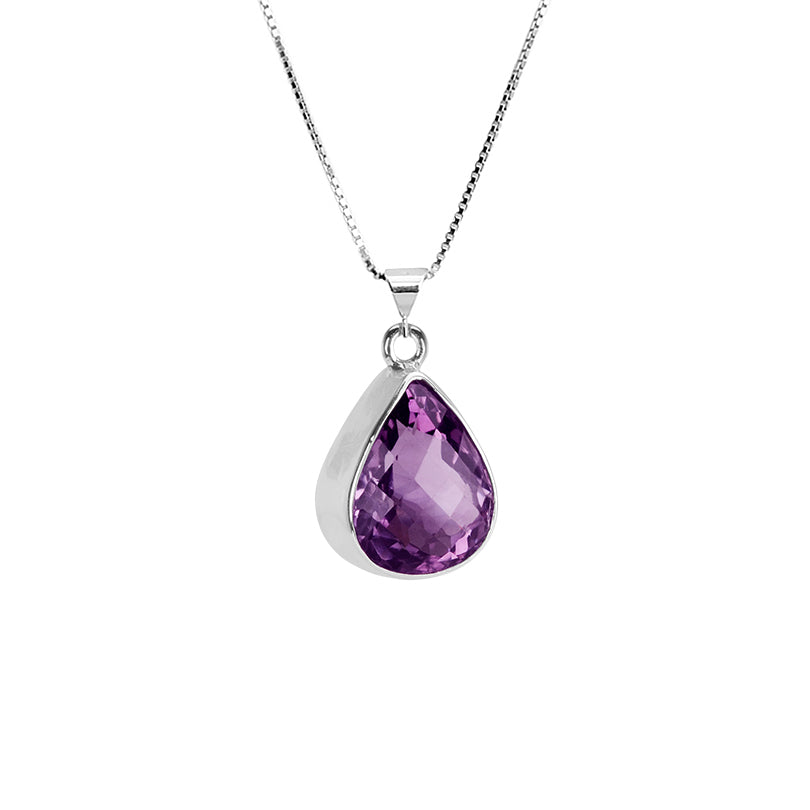 Gorgeous Deep Purple Amethyst Cushion Cut Stone Sterling Silver Necklace