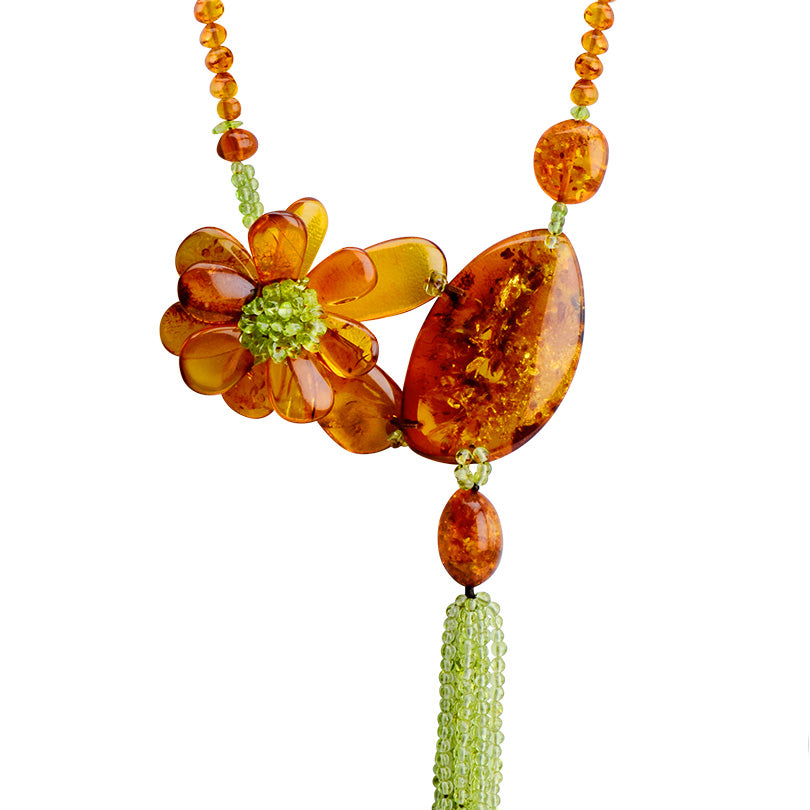 OMG! Gorgeous Polish Designer Baltic Cognac Amber and Peridot Flower Necklace 20""