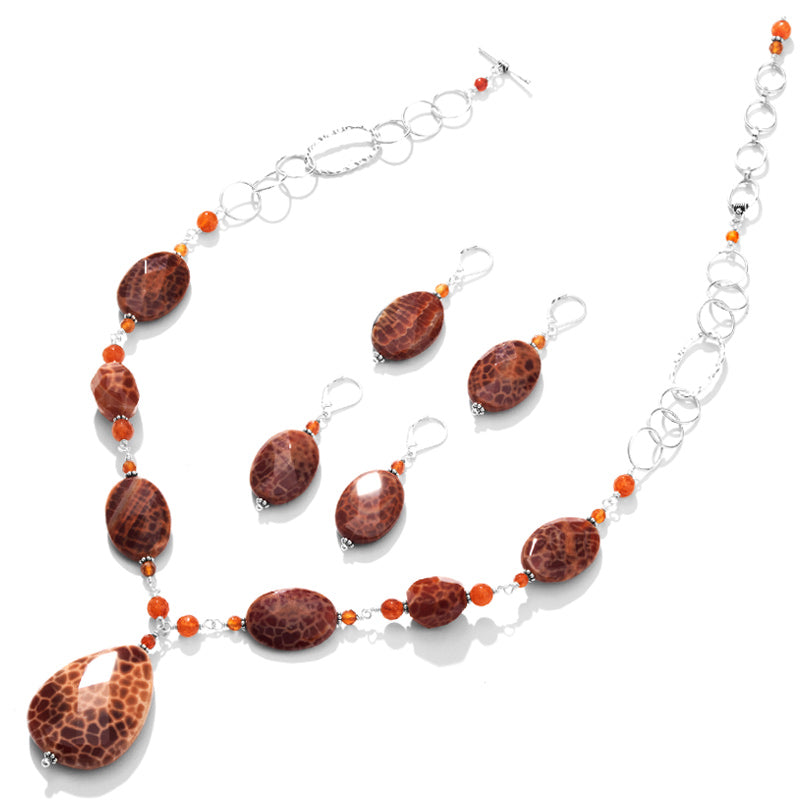Outstanding Brilliant Fire Agate Sterling Silver Necklace and Earrings