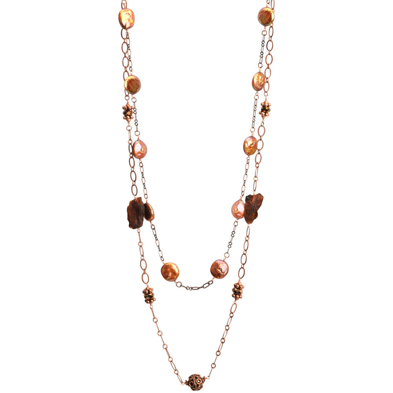 Golden Coin Pearls and Raw Amber on Copper Plated Necklace - 40