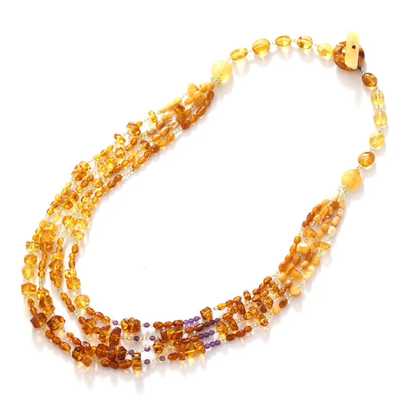Polish Designer Whispering Baltic Amber 4-Strand Statement Necklace 24-26""