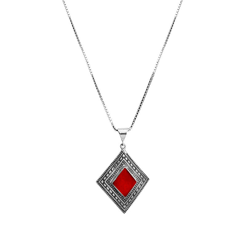 Petite Red Coral Sterling Silver Necklace 16