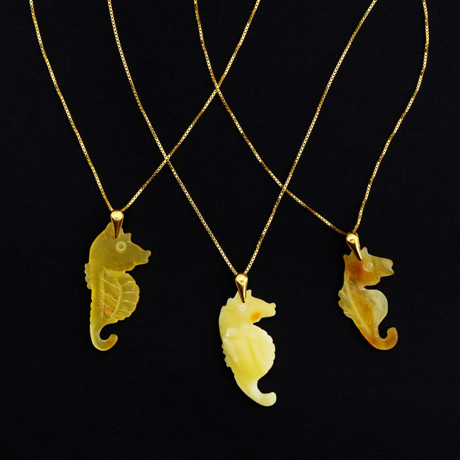 Hand-Carved Baltic Amber Sea Horse Pendant on Gold Plated Sterling Silver Italian Necklace.