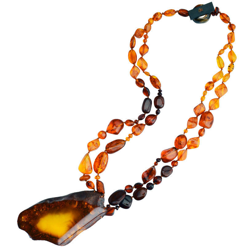 "Magnificent Amber Stone Statement Necklace 23""-one of a kind!"